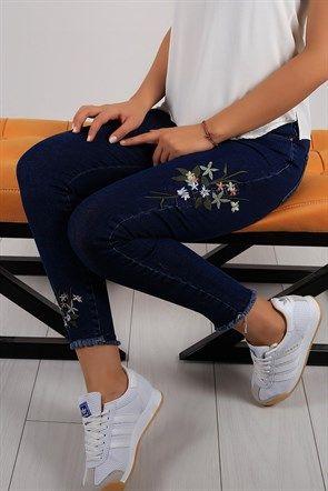 Cicek Desen Bayan Likrali Kot Pantolon 5849b Moda Stilleri Moda Tasarimci Giyim