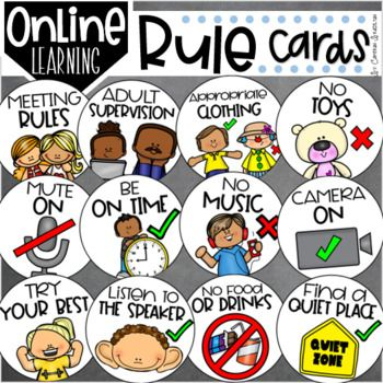 Online Meeting Virtual Distance Learning Zoom Classroom Rules Visual Cards Classroom Rules Distance Learning Digital Learning Classroom