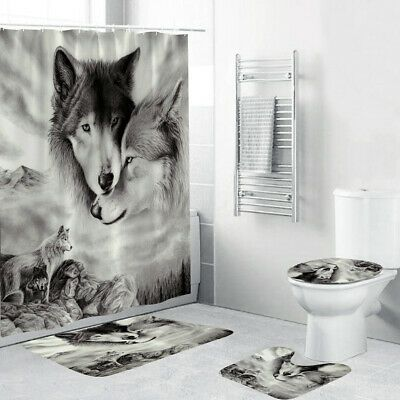 Advertisement 4pcs Wolf Shower Curtain Bathroom Anti Slip Carpet