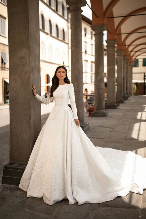 Bridal Gowns of pure elegance designed for the bride that knows what she desires on her wedding day Gold Coast Wedding Dresses and Gold Coast Bridal. Plain Wedding Dress, Hijab Wedding Dresses, Country Wedding Dresses, Wedding Dress Sleeves, Long Sleeve Wedding, Princess Wedding Dresses, Dream Wedding Dresses, Bridal Dresses, Modest Wedding Gowns