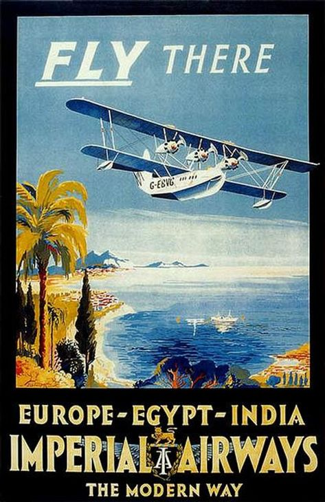 Vintage Imperial Airways Seaplane Poster A3 A2 Print