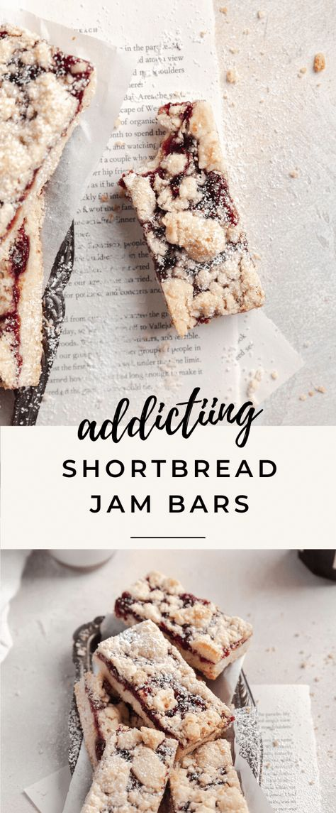 These easy jam bars are complete with a tender shortbread crust and jammy strawberry center! #easy #recipe #strawberry #raspberry #shortbread