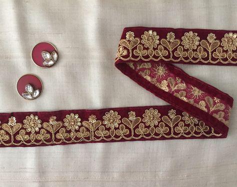 Indian Bridal Pink Zari Sequin Velvet fabric Dupatta Sari Border lace Trim