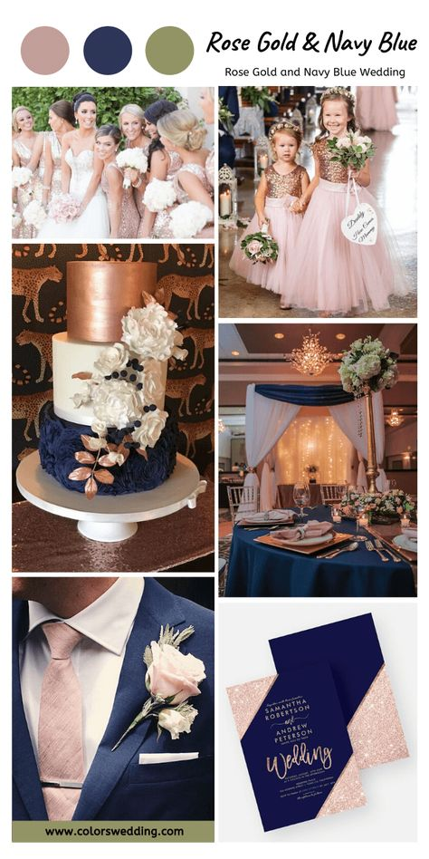 Blue And Blush Wedding, Gold Wedding Colors, Wedding Color Schemes, White Bridal, Rose Gold Weddings, Navy Blue Wedding Theme, Rose Gold Wedding Dress, White And Gold Wedding Themes, Rose Gold Gown