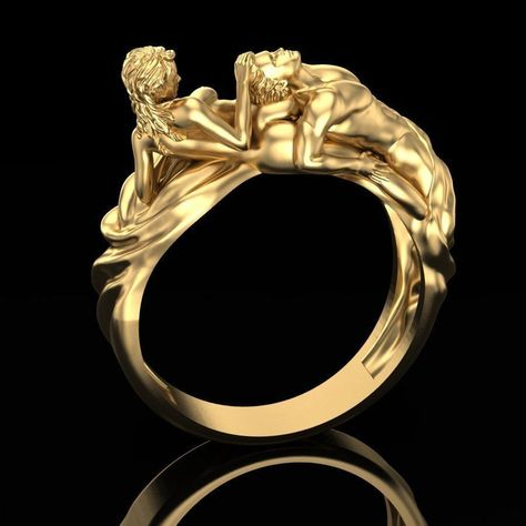 18kt yellow gold ring tenderness love man woman sculpture in detail weight about 13 grams - depends on the size also available in 925 silver version write us your personal size we use an ancient fusion method ... called lost wax .. used since ancient times by Egyptians .. Roman Etruscans .. and still used today with technological advances in combination. Our jewels are perfect for a gift to the woman of dreams, for the birthday ... wedding engagement and all those special occasions where a jewel