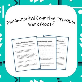 Fundamental Counting Principle Worksheets Word Problems Different Words Fundamental