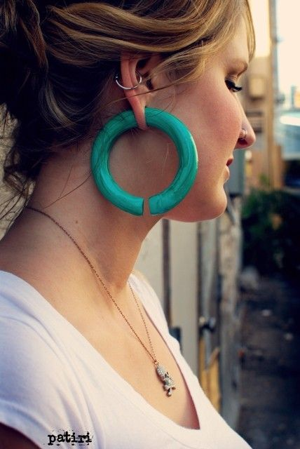 Faux Malachite Hoops  Earrings For Stretched Lobes  by PeachTreats