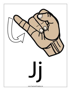 this printable features a sign language letter j with a label free to download and print aslsign language pinterest sign language letters