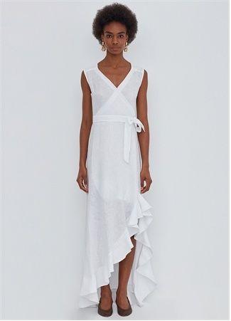 R2p R2p Kadin Beyaz Asimetrik Kesim Keten Elbise L Eu 2020 Elbise Kadin Magaza