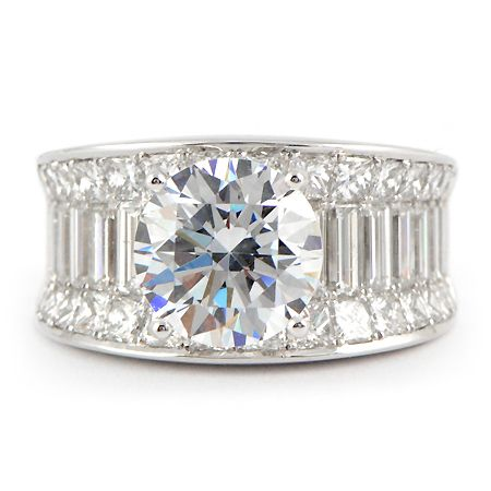 A Perfect 33CT Round Cut Brilliant Russian Lab Diamond Baguette