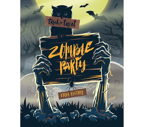 Zombie Party Halloween Invitation Card Rysunek Digital