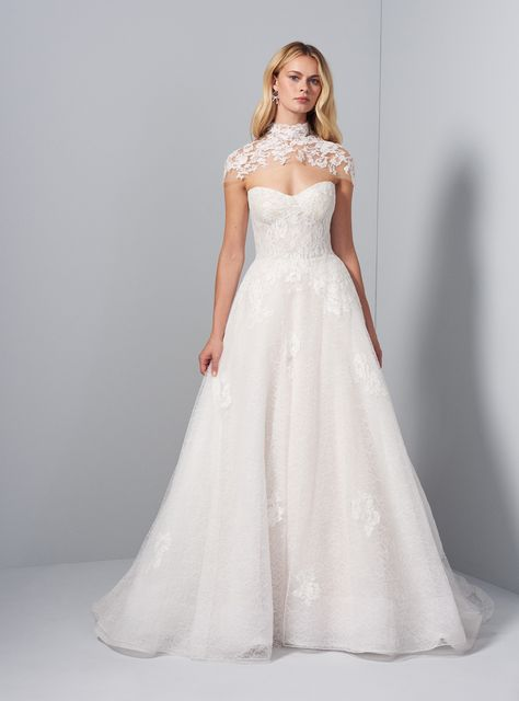#sponsored Allison Webb bridal gown - Ivory over Cashmere French lace A-line gown with hand placed appliques on skirt, molded bodice and lace topper. Chapel train. #wedding #allisonwebb #lace #weddingdress #weddinggown #weddingideas #weddingplanning #beading #bride #engaged