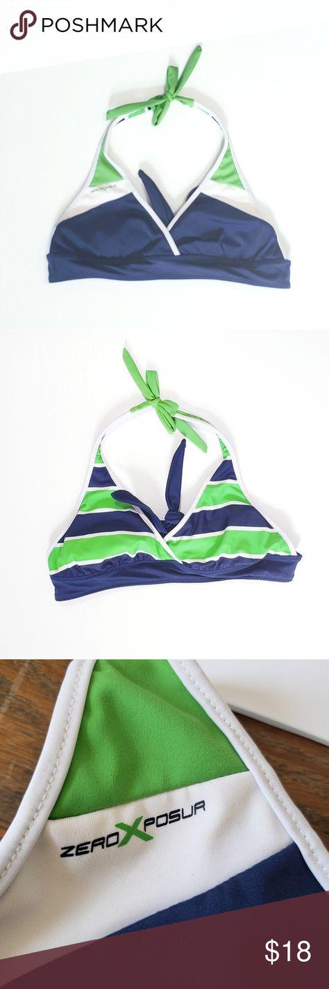 ZeroXposur Size 6 8 10 12 16 Blue Stripe Floral Reversible Bikini Swimwear Top
