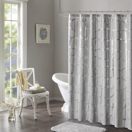 Home Essence Apartment Arielle Printed Metallic Shower Curtain