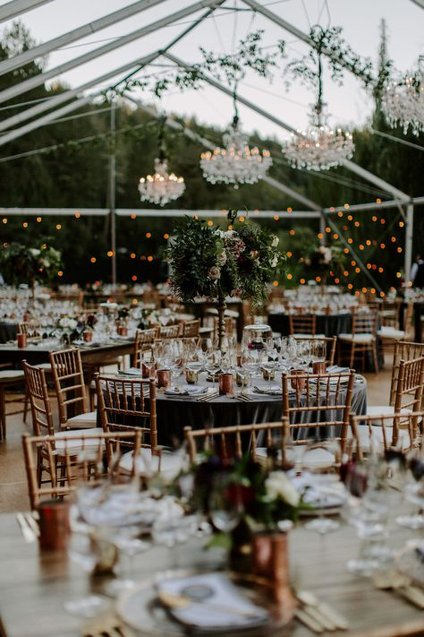 Glass wedding reception tent with chandeliers and beautiful lighting, Click pic to see more of this Enchanted Garden Wedding in Modern, Romantic Jewel Tones. wedding reception tent Enchanted Garden Wedding in Modern, Romantic Jewel Tones Wedding Ceremony, Wedding Venues, Gown Wedding, Wedding Cakes, Lace Wedding, Wedding Rings, Wedding Dresses, Forest Wedding Reception, Outdoor Wedding Theme