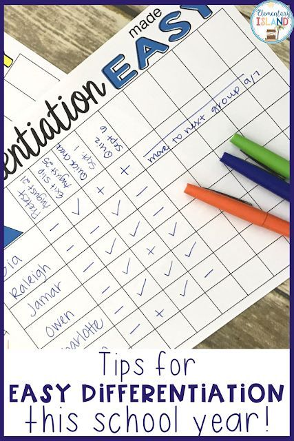 Tips For Making Differentiation Easy Elementary Education