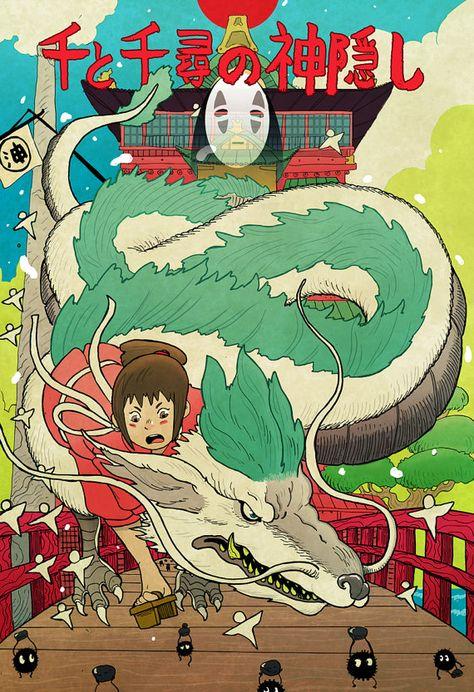 Here's the second Studio Ghibli print I finished! I've got Princess Mononoke, My Neighbor Totoro, and Laputa finished. Spirited Away Photo Wall Collage, Picture Wall, Spirited Away Poster, Spirited Away Haku, Poster Anime, Wall Prints, Poster Prints, Hxh Characters, Japanese Poster Design