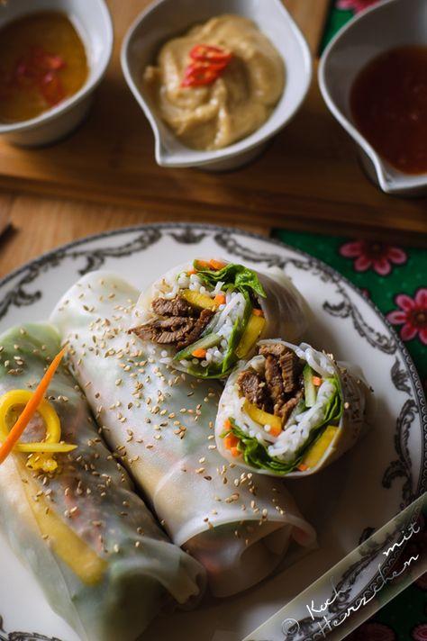 Kochen mit Herzchen - ♥ Mein Koch-Tagebuch mit viel Herz ♥: Vietnamesische Frühlingsrollen mit Rindfleisch