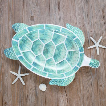 Set of 2 LX Hand Painted Ocean Creature Ornament Sea Turtle 3.75