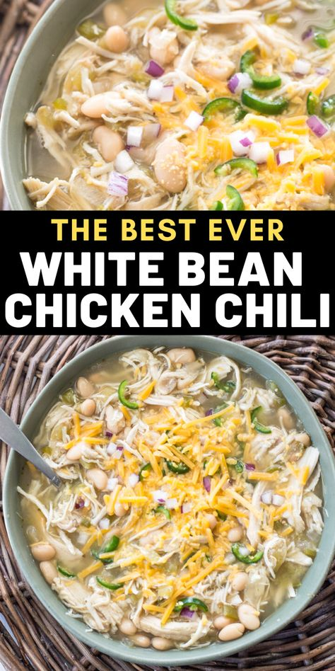 This easy Slow Cooker White Bean Chicken Chili is loaded with tender chicken, beans, salsa verde and vegetables! This easy soup is naturally gluten free and great for meal prep! Slow Cooker Chili, White Bean Chicken Chili Slow Cooker, Chicken Chili Verde, Creamy White Chicken Chili, Slow Cooker Huhn, Easy Chicken Chili, Crockpot White Chili Recipe, Gluten Free White Chicken Chili Recipe, Slow Cooker Chicken Chili Recipe