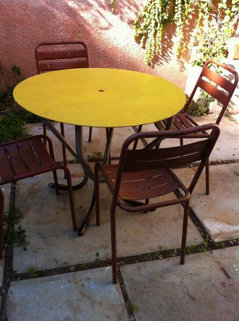 TABLE Terrasse Bistrot Ou Jardin 50s Plateau Jaune