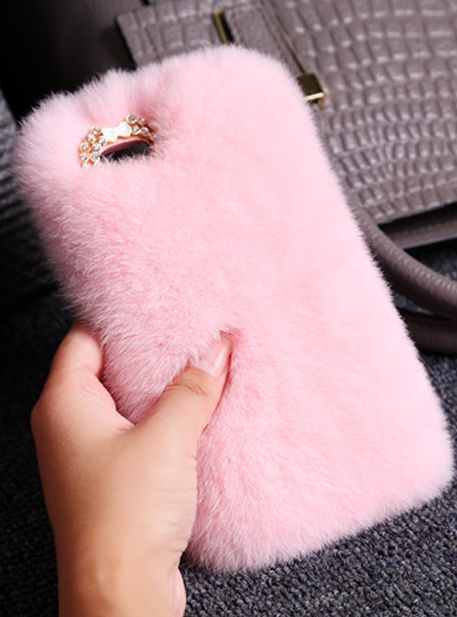 new styles c8d86 8092b Phone Cases Luxury Rabbit Hair Fur Plush Soft Pink Iphone5/5s/6/6s ...