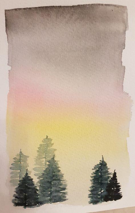 Watercolor Aquarell November Tannen Weihnachten Christmas