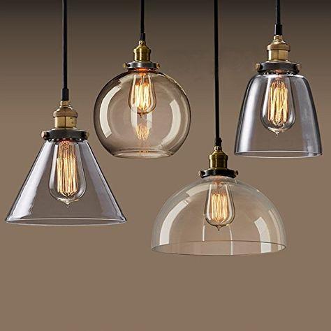 Lightess Industrielle Vintage Led Pendelleuchte Hangeleuchte Glas Anhanger Licht Schatten Retro Decke Beleuchtung Restaurant Hangeleuchte Lampe Hangelampe Glas