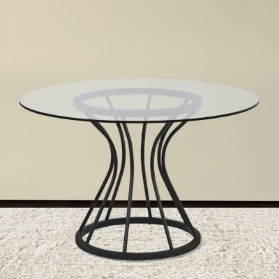 Armen Living Zurich Round Dining Table In Black Finish And 48 Glass Top Reviews Furniture Macy S Dining
