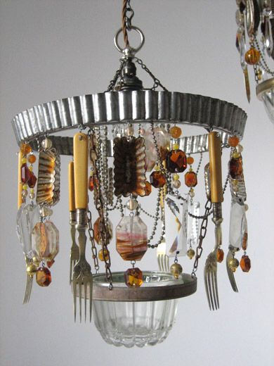 Rust Bucket Chandelier, by Madeleine Boulesteix. #reuse, #repurpose, #upcycle, #lighting