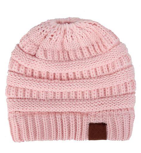31e16673e401c BeanieTail Soft Stretch Cable Knit Messy High Bun Ponytail Winter Women  Beanie Hat - A-baby Pink - CE188K4X2ZZ - Hats   Caps