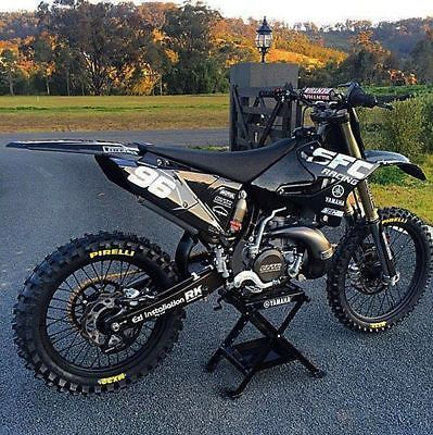 Yamaha All Black Yz125 250 2 Stroke Full Graphics Decals Kit 2014 2015 2016 2017 Yamaha Dirt Bikes Cool Dirt Bikes Motorcross Bike
