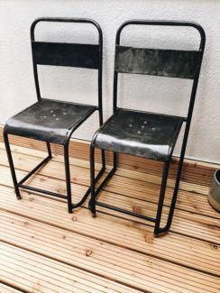 Vintage Berlin 2x industrial Metallstuhl Stühle in retro D9YeHE2bWI