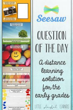 Distance learning just got a little easier with Seesaw! Use the Question of the Day for attendance or as a skills check. Save it to your Seesaw Activity Library and edit the date to make it your own! Inquiry Based Learning, Teaching Technology, Home Learning, Learning Resources, Fun Learning, Preschool Learning, Learning Support, Teaching Biology, Learning Spanish