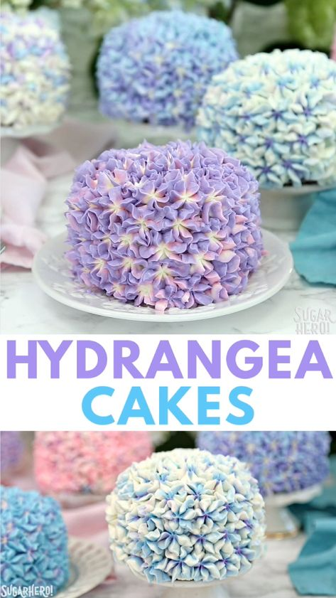 Hydrangea Cakes- gorgeous miniature cakes that look like hydrangea flowers! The perfect vanilla cake for spring or Easter.  #sugarhero #floralcake #hydrangeacake #eastercake
