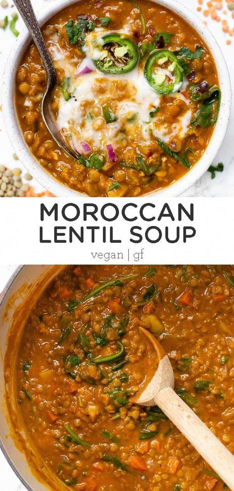 Vegan Lentil Soup, Lentil Soup Recipes, Lentil Stew, Vegan Soups, Lentil Meals, Vegetarian Recipes Lentils, Recipe With Lentil, Easy Lentil Soup, Lentil Detox Soup