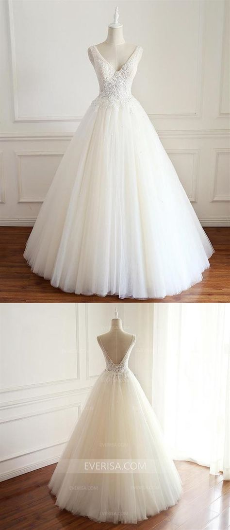 aba6c3c86af316 V-Neck White Wedding Dress A-line Sleeveless Open Back Bridal Gown With  Beaded