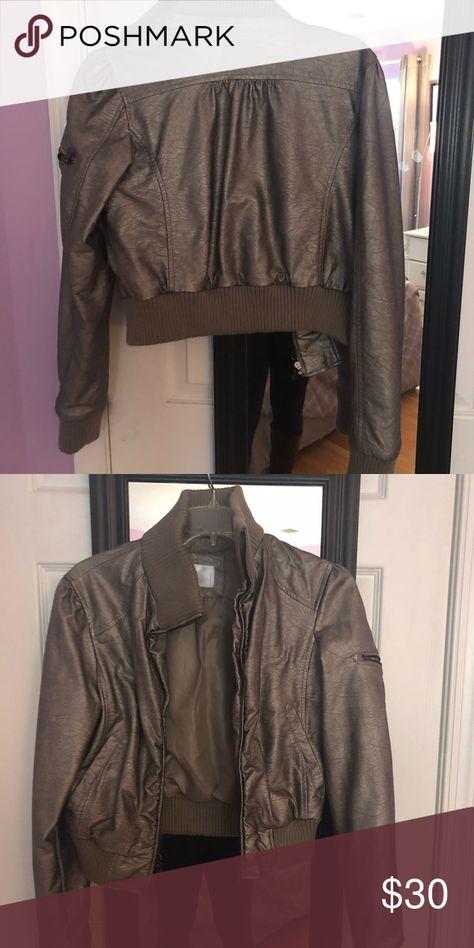 Silver metallic fake leather jacket Medium size! Worn some but no damage Jackets & Coats