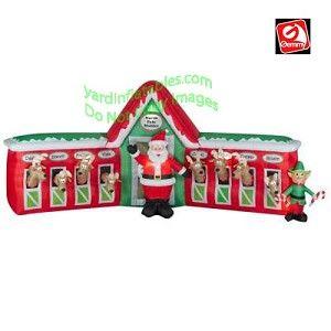 13' Santa Stable 8 Reindeer Scene