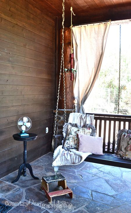 Naps on the porch swing with vintage fan via http://countrydesignstyle.com #hometour #summer