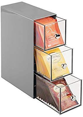 Couleurs variées 964a2 fb693 mDesign boite de rangement cuisine avec 3 tiroirs - casier ...