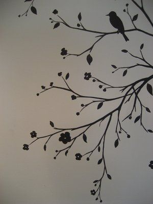 Inspiration for bathroom:  Bird and tree silhouette for bathroom I love the little flowers as well.  Bathroom, here I come! :)