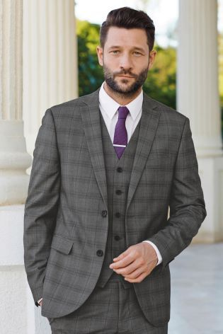 Buy Light Grey Check Slim Fit Suit: Jacket online today at Next ...