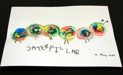 spin art caterpillars with baby food jars!