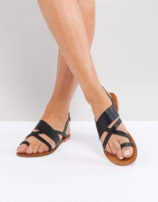 Asos FINLEY Leather Flat Sandals #shopstyle | Flat gladiator
