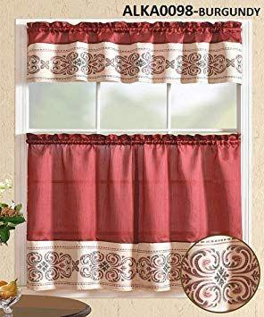Wpm World Products Mart 3 Piece Kitchen Curtain Set Burgundy Beige