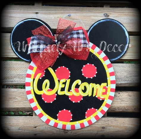 A personal favorite from my Etsy shop https://www.etsy.com/listing/385629138/mickey-door-hanger