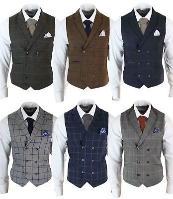 Details about Mens Double Breasted Herringbone Tweed Peaky Blinders Vintage Check Waistcoat Indian Men Fashion, Mens Fashion Suits, Mens Suits, Men's Vest Fashion, Fall Fashion, Style Fashion, Traje Peaky Blinders, Peaky Blinders Costume, Peaky Blinders Clothing