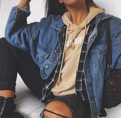 So you could wear a white/ grey t shirt with a red flannel and a jean jacket on top with the black ripped pants. This could work for both men and girls