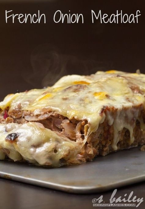 """French Onion Meatloaf Recipe ~ """"This dish takes all of the best aspects of French onion soup and puts them together in a healthy, hearty meatloaf. It is FILLED with 2 whole onions worth of caramelized onions, bound by oats instead of crusty bread (I promise you can't even taste them!), and topped off with melty, bubbling gruyere cheese. It's also incredibly easy (and fun!) to assemble, making it perfect for any time"""""""